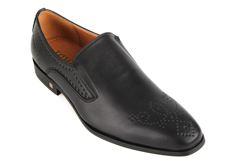 Tomaz F266 Formal Perforated Slip On (Black) (4183378755680)