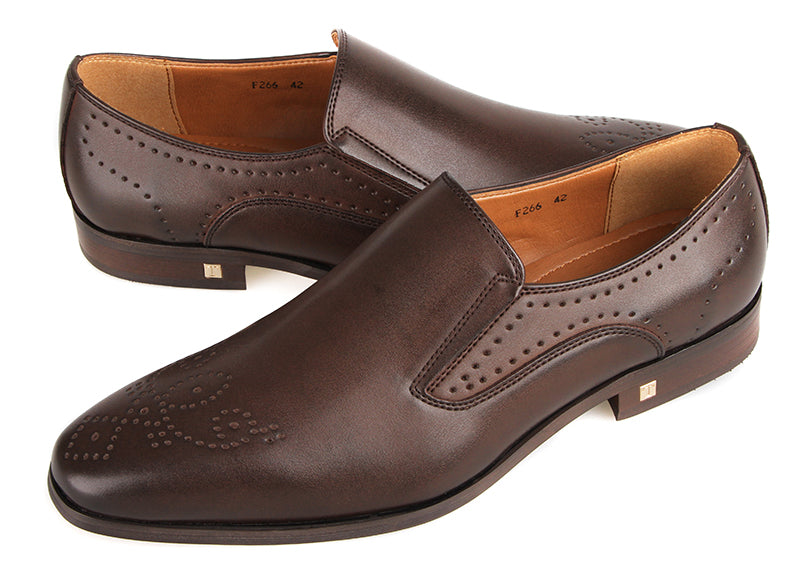 Tomaz F266 Formal Perforated Slip On (Coffee) (4183384850528)