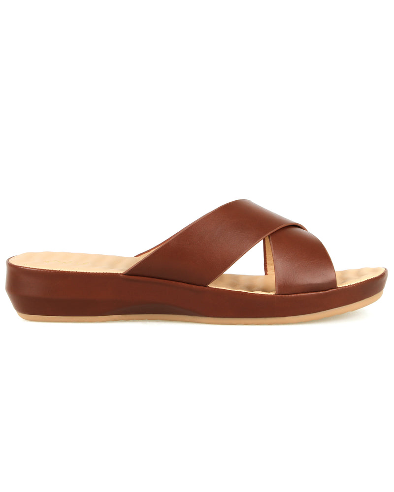 Tomaz L028 Ladies Wedge Sandal (Brown)