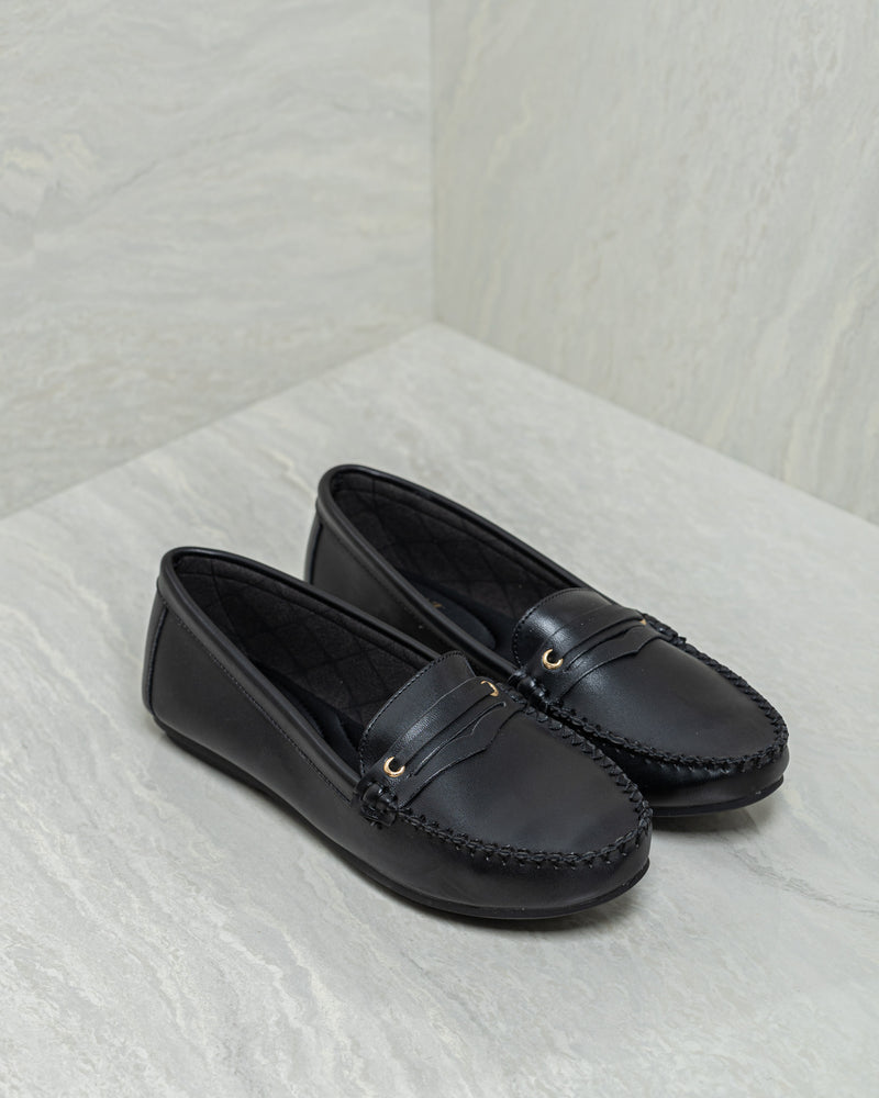 Load image into Gallery viewer, Tomaz L066 Ladies Penny Moccasins (Black)