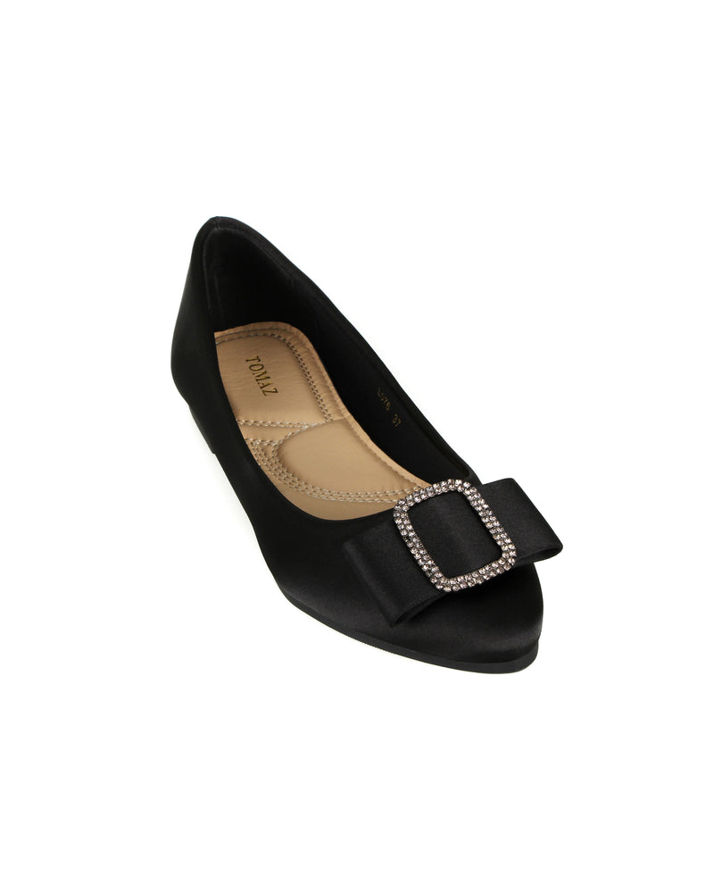 Tomaz L076 Ladies Ribbon Buckle Pointed Flats (Black)