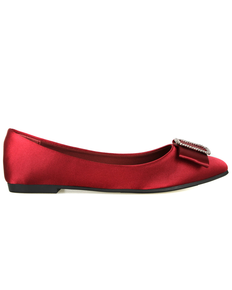 Tomaz L076 Ladies Ribbon Buckle Pointed Flats (Maroon)