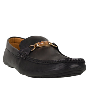 Load image into Gallery viewer, Tomaz Luis Perforated Buckled Moccasins (Black)