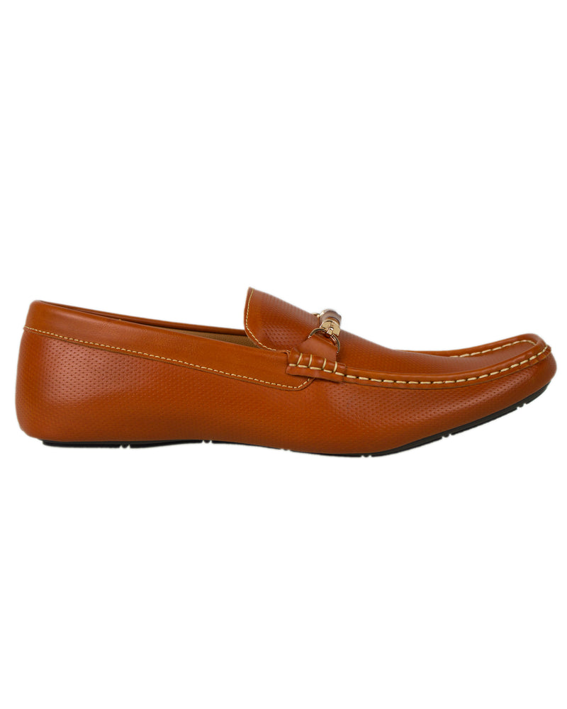 Tomaz Luis Perforated Buckled Moccasins (Camel)