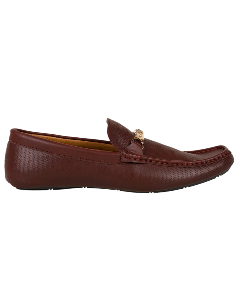 Tomaz Luis Perforated Buckled Moccasins (Coffee)