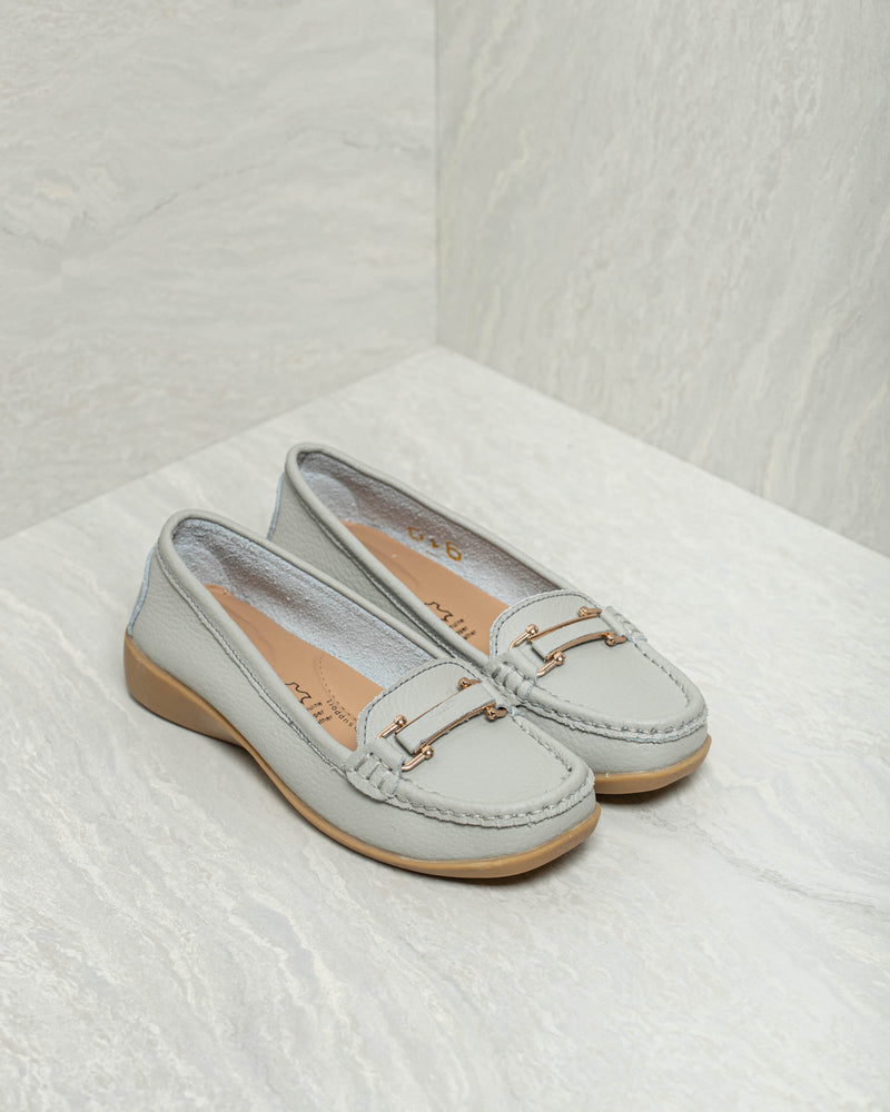 Tomaz LY42 Ladies Buckle Strap Loafers (Gray)