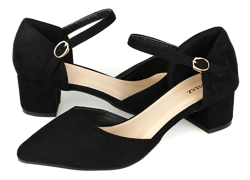 Tomaz LY51 Ankle Strap Heels (Black)