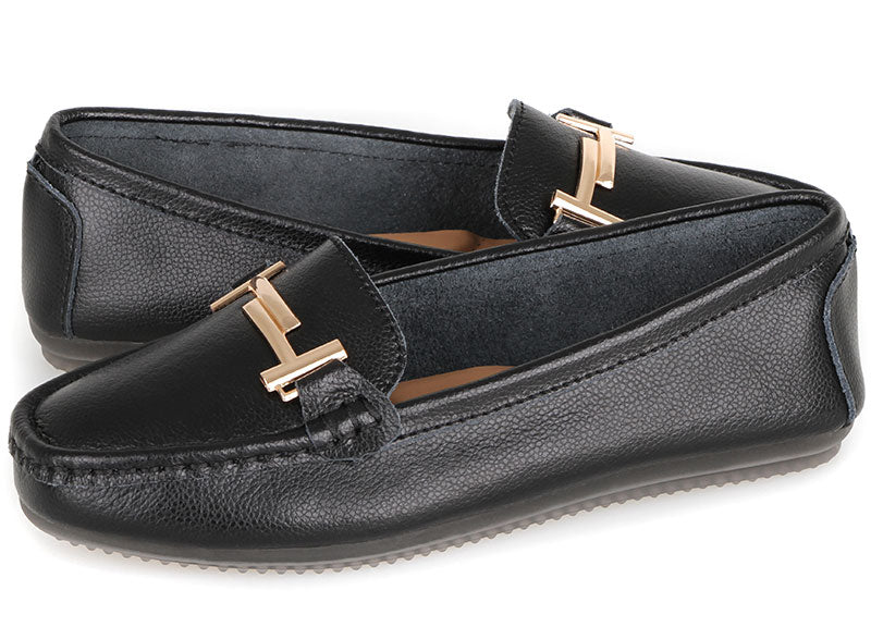Tomaz LY53 Ladies Buckle Moccasins (Black)