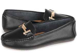 Load image into Gallery viewer, Tomaz LY53 Ladies Buckle Moccasins (Black) (2226176458848)