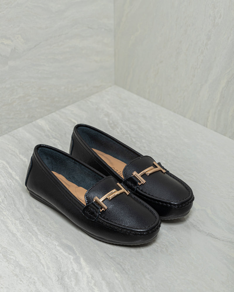 Tomaz LY53 Ladies Buckle Loafers (Black)