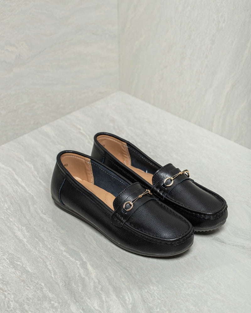 Tomaz LY82 Ladies Buckle Loafers (Black)