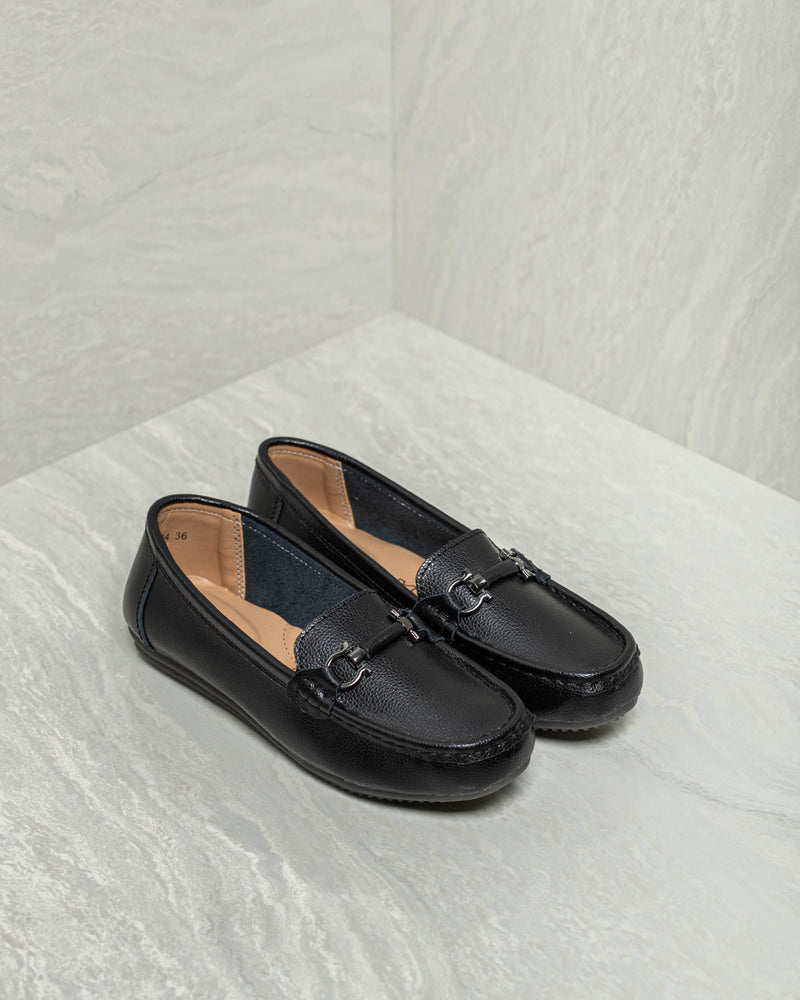Tomaz LY84 Ladies Buckle Loafers (Black)