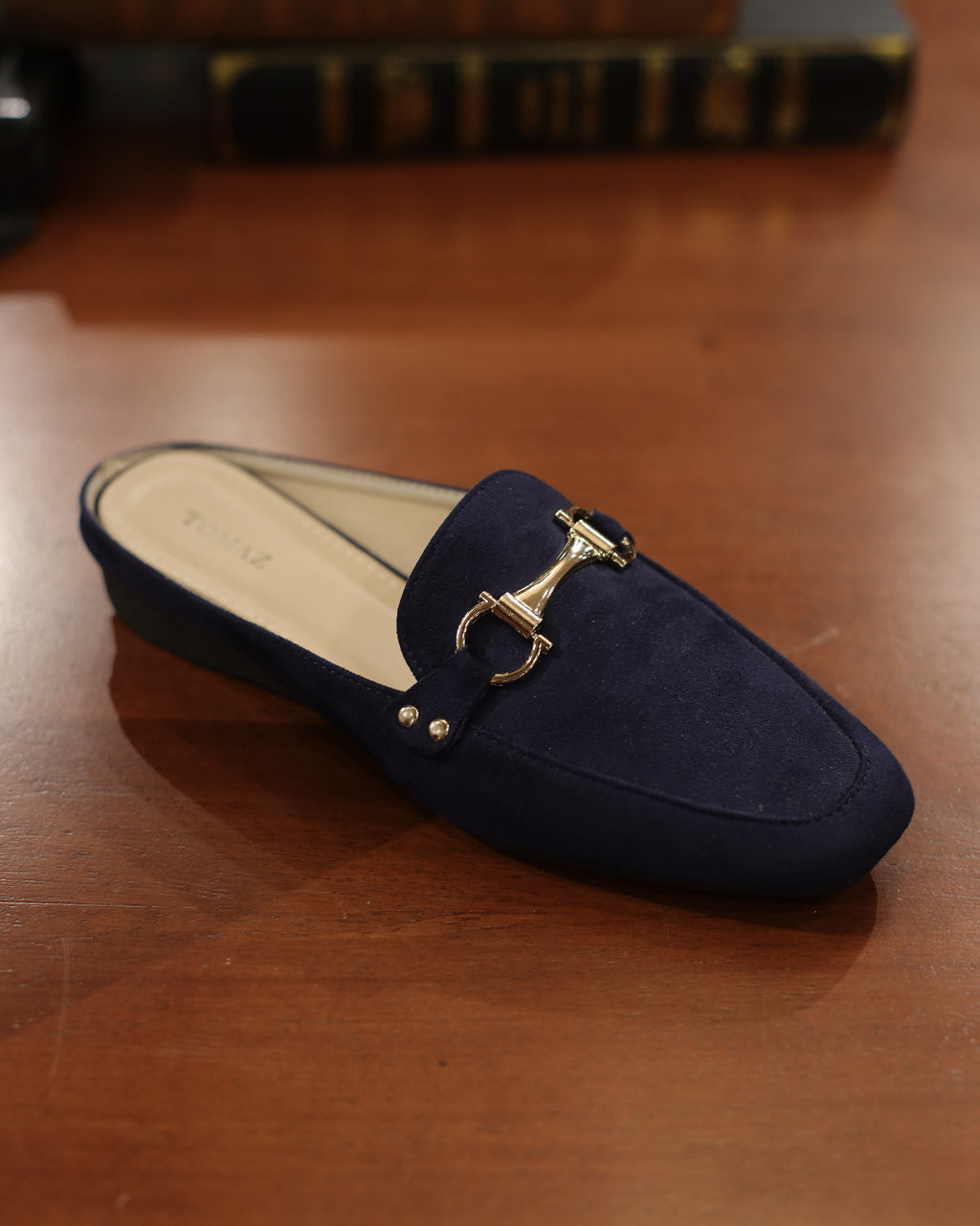 Tomaz LYM48 Ladies Buckled Slip On Mules (Navy)