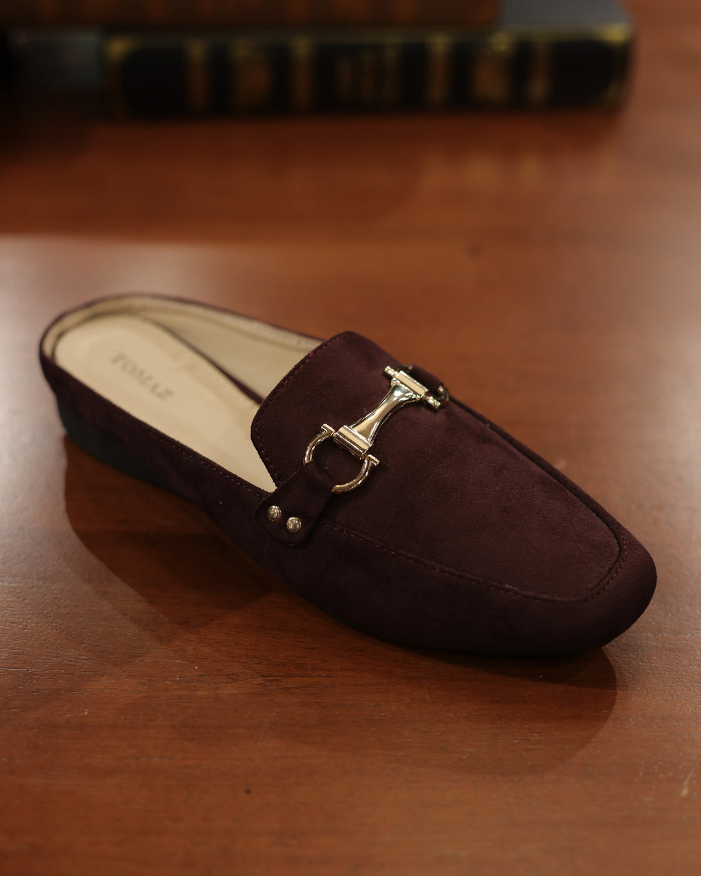 Tomaz LYM48 Ladies Buckled Slip On Mules (Maroon)