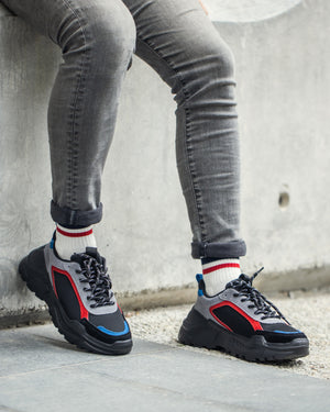 Load image into Gallery viewer, Tomaz TBB07 Men's Chunky Sneakers (Blue/Red/Black) (2214207094880)
