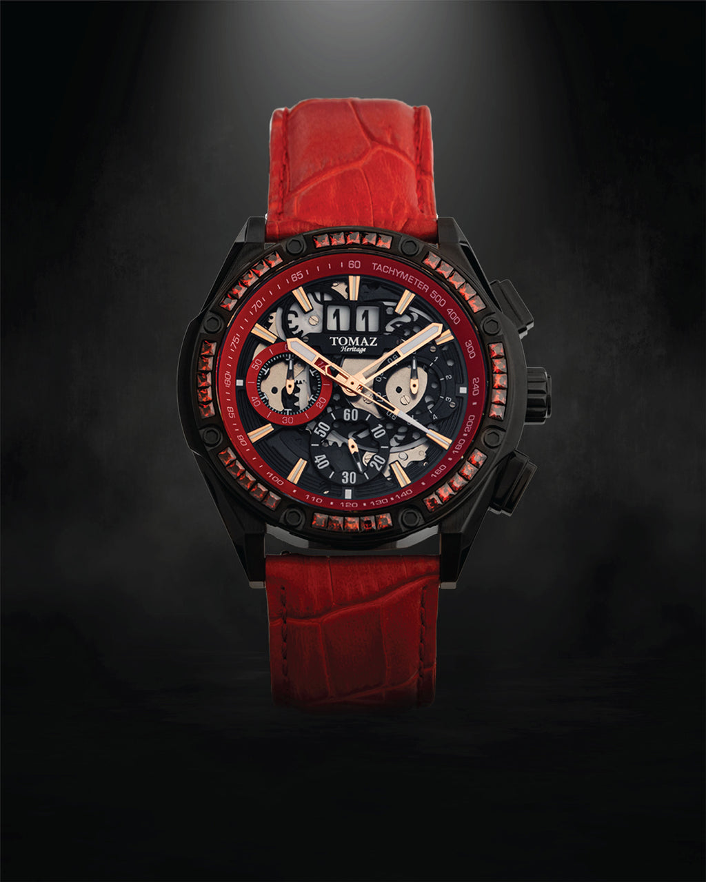 Tomaz Men's Watch RAWR III with Swarovski (Red/Black) -TW024A-D2