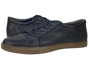 Tomaz C268 Leather Cap-toe Sneakers (Navy) - Tomaz Shoes