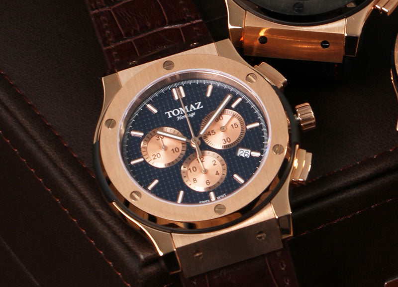 Tomaz Men's Watch TQ008B (Rose Gold/Navy) with Screws