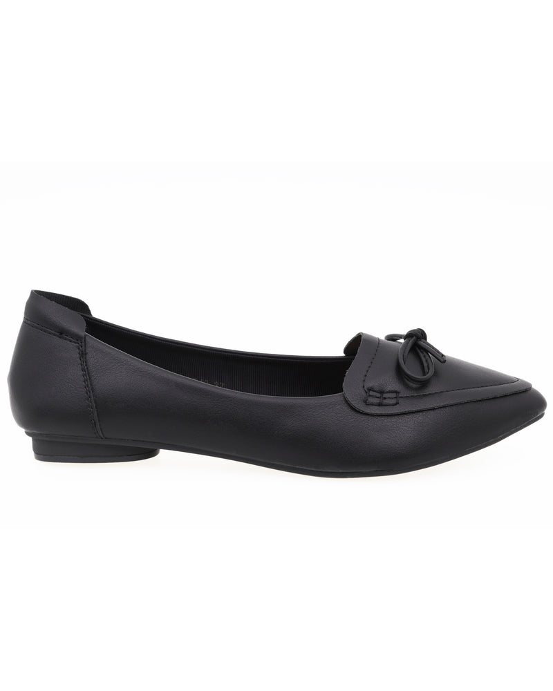 Load image into Gallery viewer, Tomaz XP40 Ladies Bow Pointed Flats (Black)