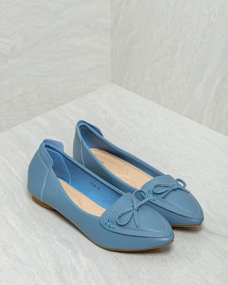 Tomaz XP40 Ladies Bow Pointed Flats (Blue)