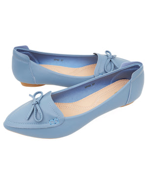Load image into Gallery viewer, Tomaz XP40 Ladies Bow Pointed Flats (Blue)