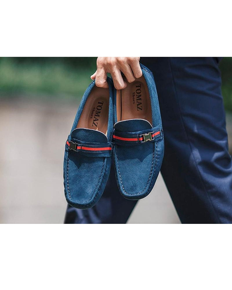 Tomaz C057A Side Buckled Loafers (Navy) (336736256029)