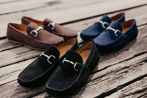 Load image into Gallery viewer, Tomaz C338 Front Buckled Suede Loafers (Navy) (791574544473)
