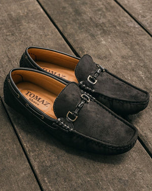 Load image into Gallery viewer, Tomaz C352 Buckled Moccasins (Black) (1552060678233)
