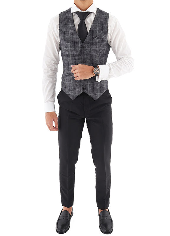 Tomaz EL4585-12 Men's Checkered Vest (Grey)
