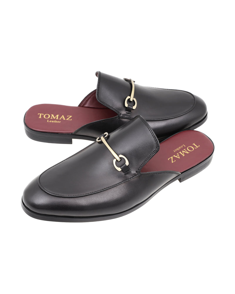 Load image into Gallery viewer, Tomaz F287 Horsebit Buckle Slip On Mules (Black)