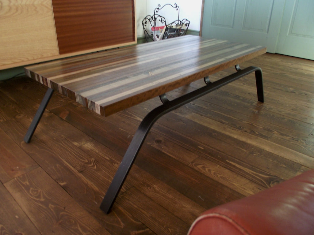 Scrapwood quotsledquot coffee table onefortythree for Sled coffee table