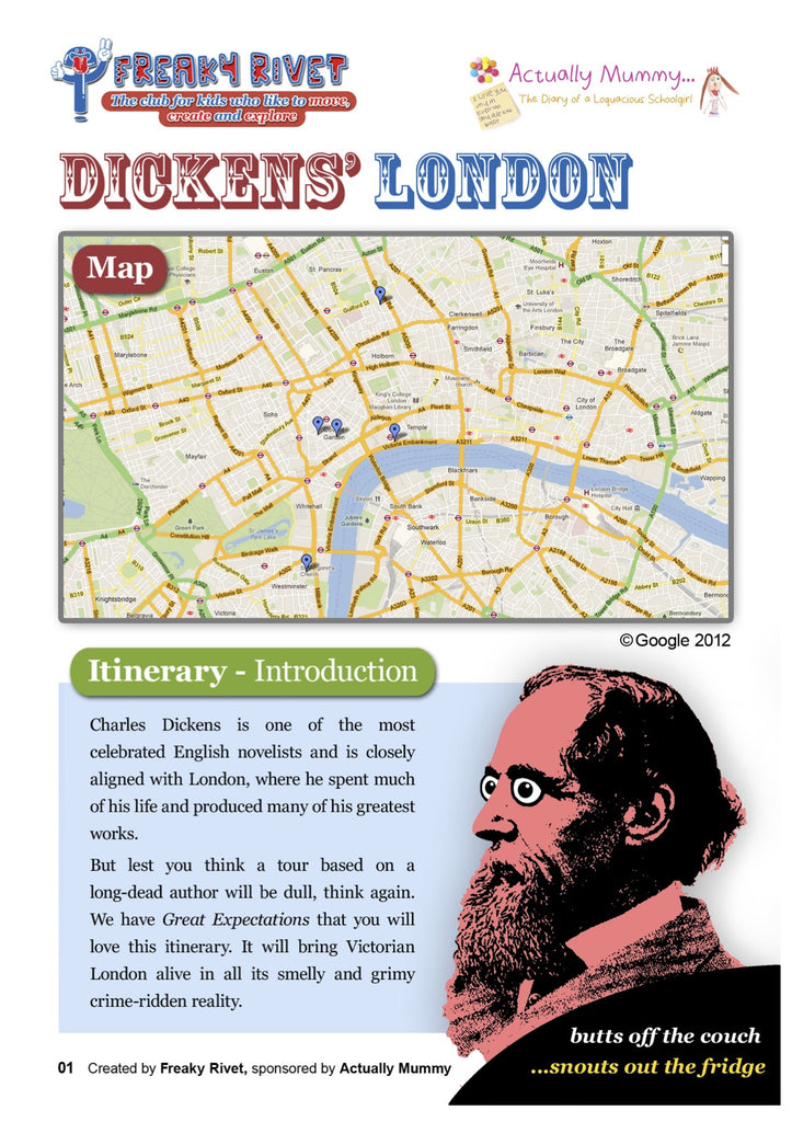 London Family Day Out Itinerary themed around Charles Dickens.