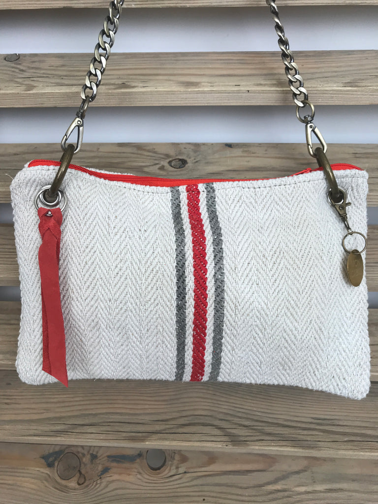 Red And Grey stripes On A Pochette