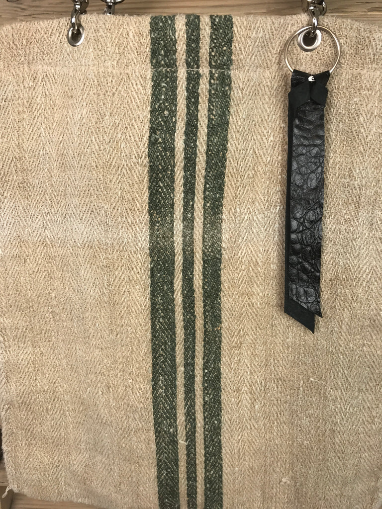 ' Olive Green Stripes' One Day In Provence Bag