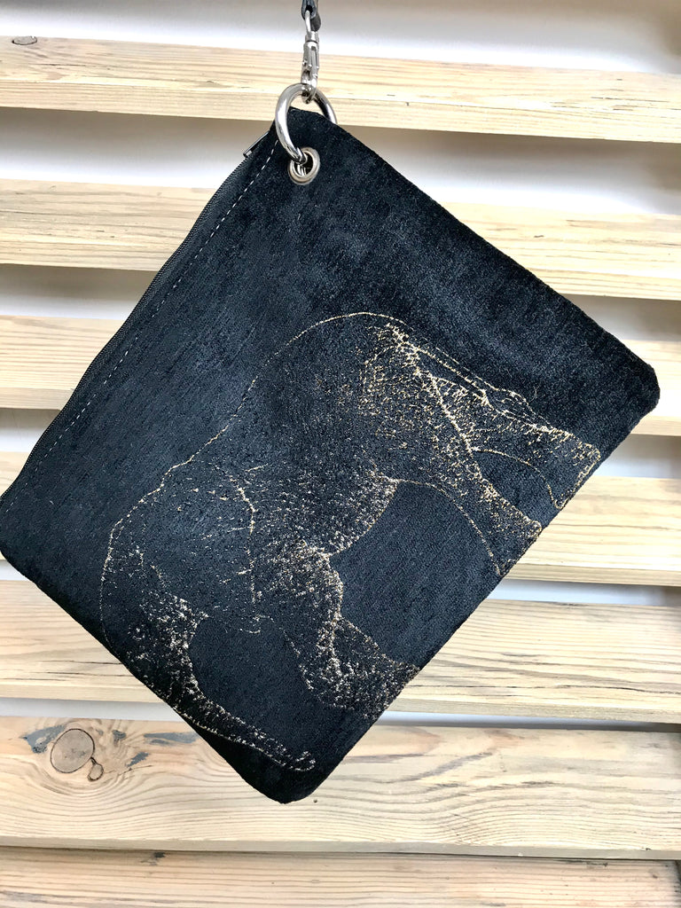 Gold Elephant Large Velvet Purse With Black Wristlet