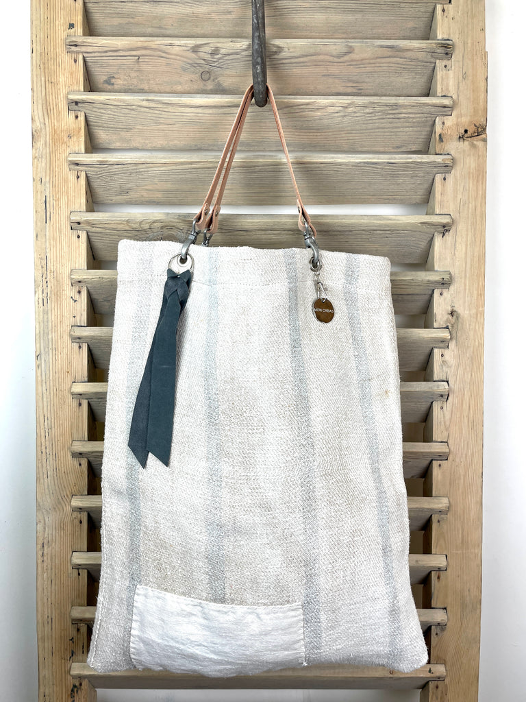 Faded Grey Stripes and Repair Love 'One Day In Provence' Bag