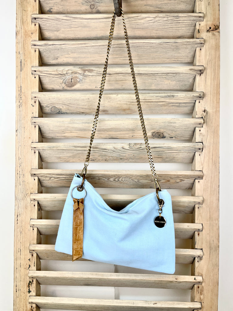 Washed Baby Blue Antique Linen Oversized Pochette