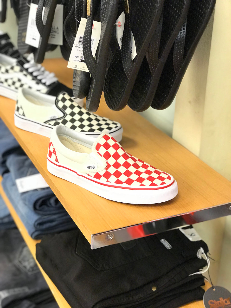 Vans Classic Slip On (Primary Check) Red/White