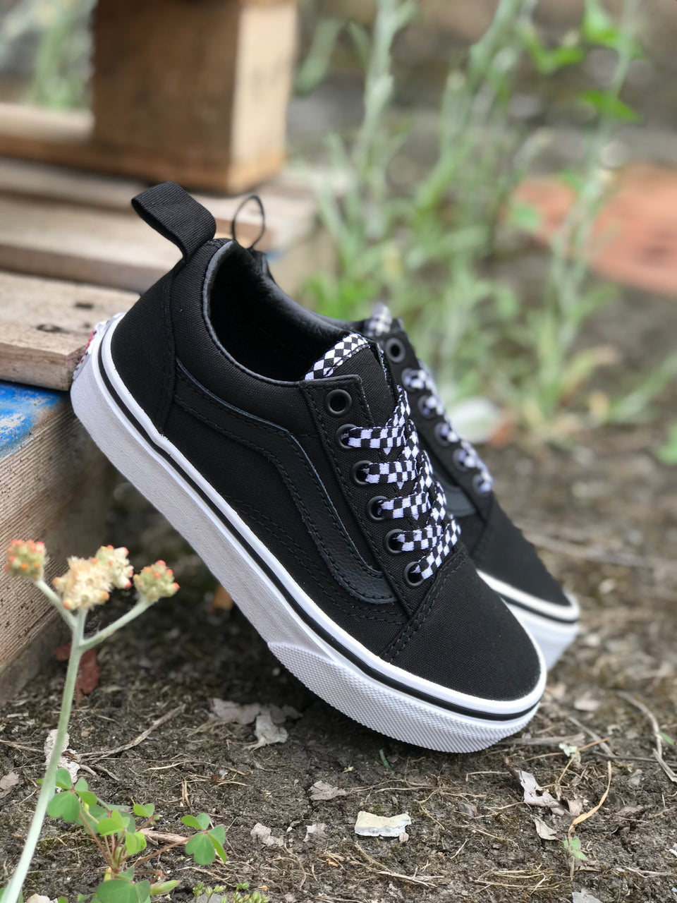 Vans YOUTH Old Skool Elastic (Check Lace) Black/True White