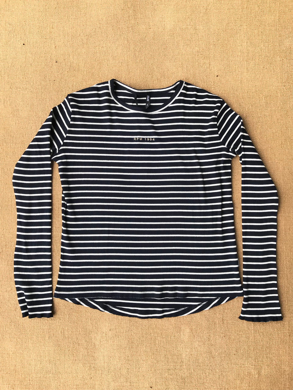 Women's Ribbed L/S Tee - Navy Stripe