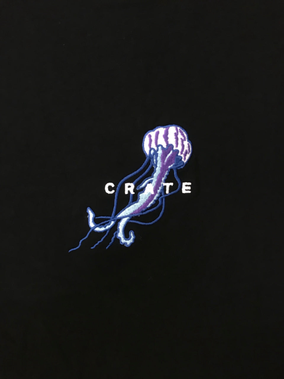 Crate Mens Jellyfish Embroidery Tee (Black)