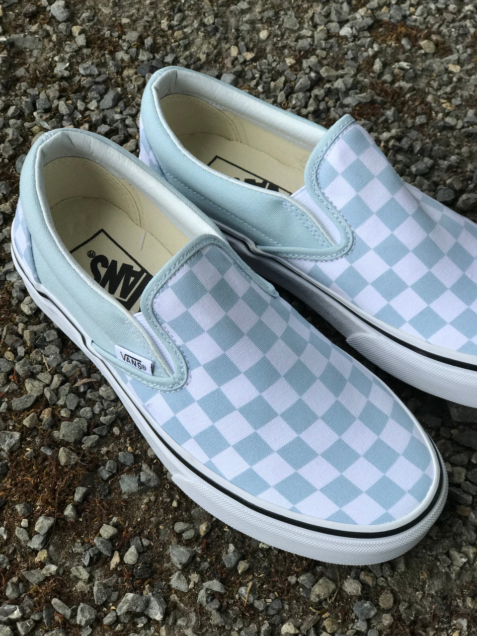 Vans Classic Slip-On (Checkerboard) Baby Blue/True White