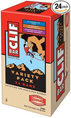 Clif Bar Crunchy Peanut Butter, Chocolate Chip Peanut Crunch, 2.4-Ounce Bars, 24 Count