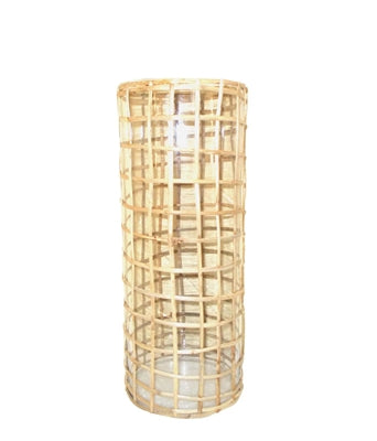 MEDIUM GLASS AND RATTAN GRID CANE VASE - IN STORE PICK UP ONLY!