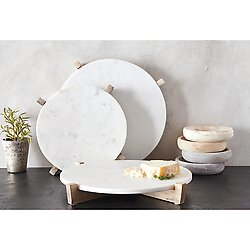 "MARBLE TRAY & NATURAL MANGO WOOD STAND - 14"" IN STORE PICK UP ONLY!"