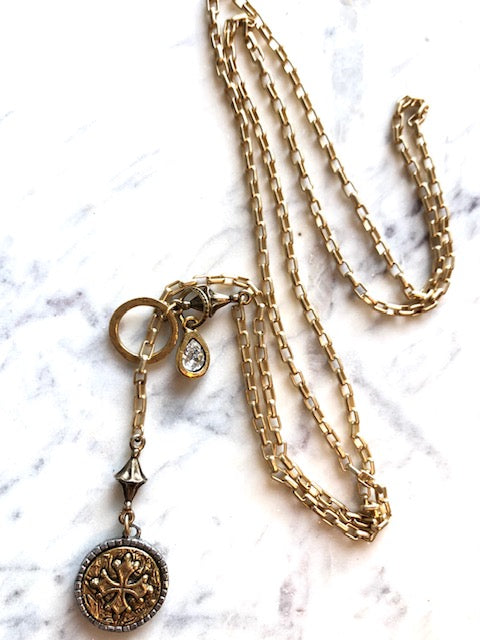 SATIN GOLD WRAP NECKLACE W/ SWAROVSKI ARTISAN CHARM