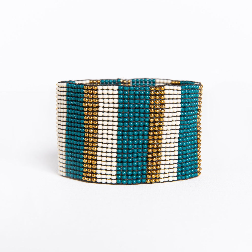 PEACOCK IVORY WITH GOLD STRIPE STRETCH BRACELET