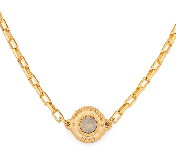 FRENCH KANDE LOIRE CRYSTAL ANNECY NECKLACE IN GOLD WITH LIGHT GREY OPAL
