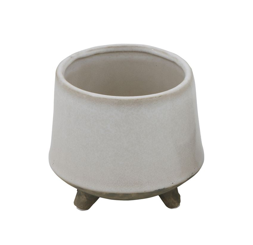STONEWARE FLOWER POT WITH FEET