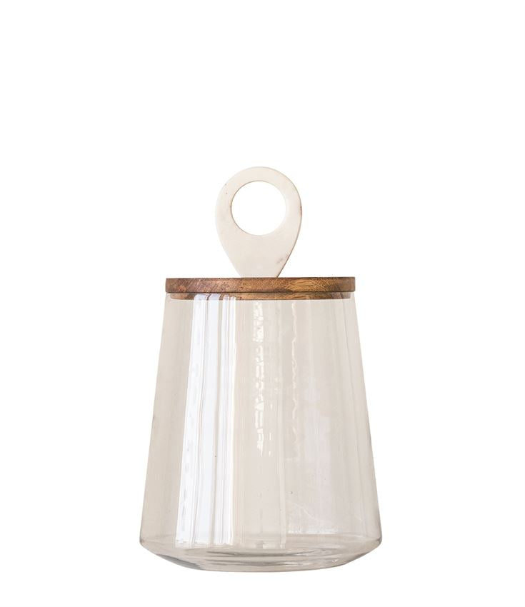 GLASS JAR WITH MANGO WOOD & MARBLE LID - IN STORE PICK UP ONLY!